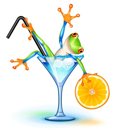 Tree frog in Blue Lagoon cocktail Vector
