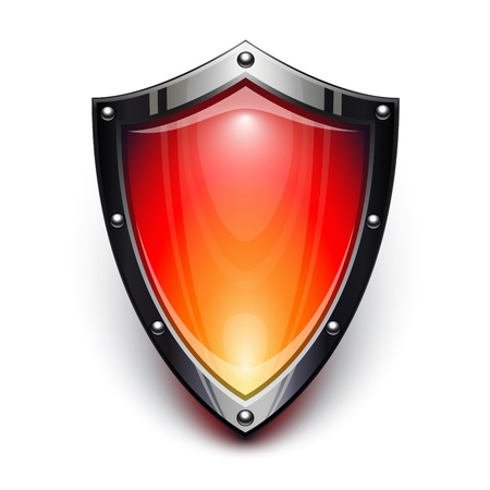 Red security shield Stock Vector - 15440066