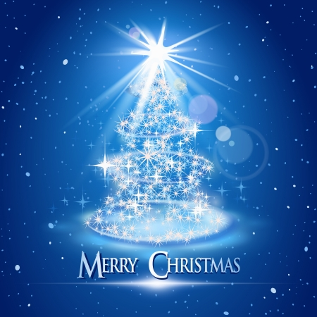 Christmas tree and light over blue background Vector