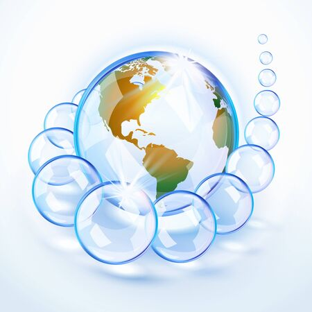 Blue bubbled Earth surrounded by crystal bubbles revealing America Stock Vector - 16855944