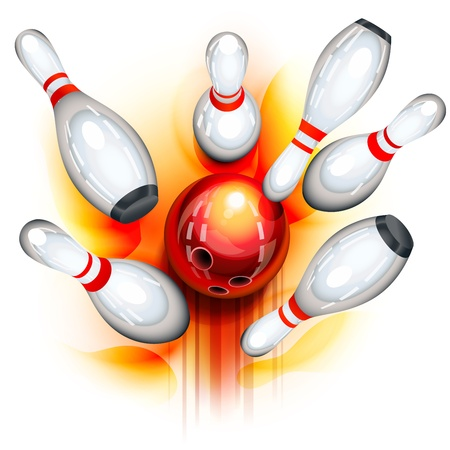 A red bowling ball crashing into the pins Illustration