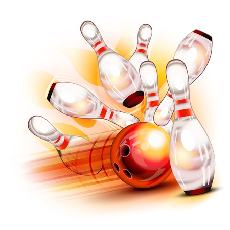 bolos: Una bola de bowling roja estrellarse en los pins brillantes