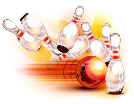 Una palla da bowling rossa schiantarsi nei perni