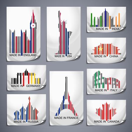 сделанный: Набор цветные наклейки штрих-кода, произведенных в стране Иллюстрация