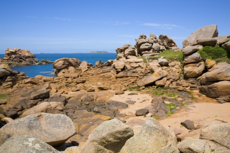 Pink granite rocks in Ploumanach, Brittany, France Stock Photo - 20237302