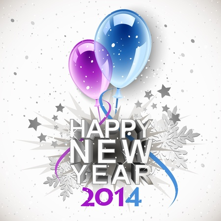 Vintage New Year 2014 with balloons Illustration