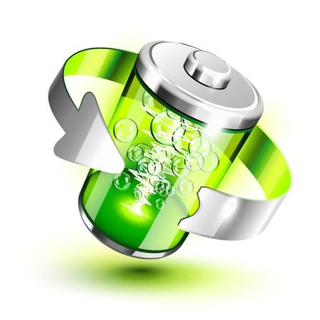 Green battery full level indicator icon Illustration