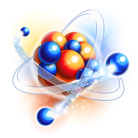 Molecule, atoms and particles in motion Illustration