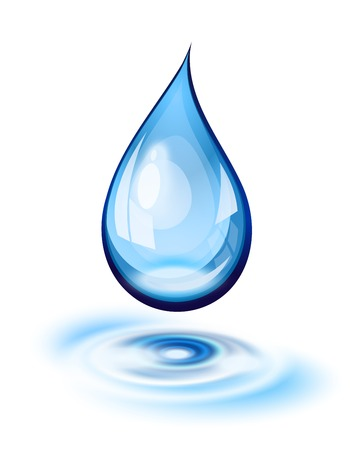 gota agua: Gota de agua y ondulaciones icono Vectores