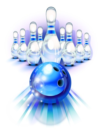 bowling sport: Blue bowling ball in motion in front of the pins Illustration
