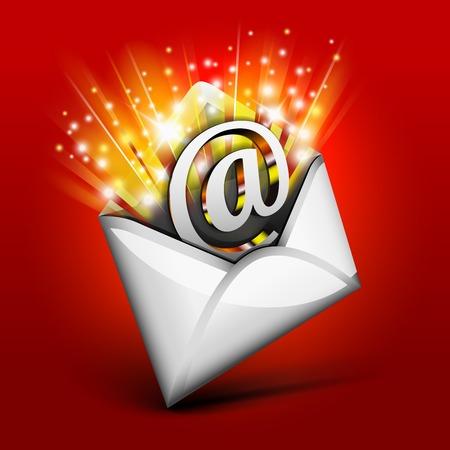 fiestas electronicas: Concepto de correo electrónico Magia para vacaciones Vectores