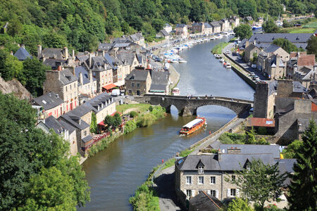 rance: Medieval city of Dinan and his gothic bridge on the Rance, Brittany, France Stock Photo