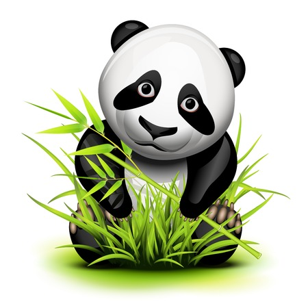 Little panda and bamboo on grass