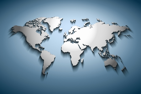 World map embossed over blue gradient photo