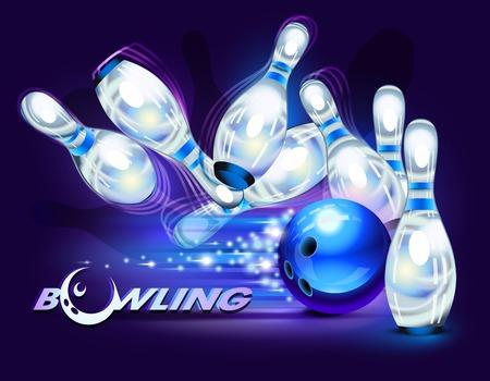 bowling: Juego de bolos, bola de bolos azul chocando en los pines Vectores