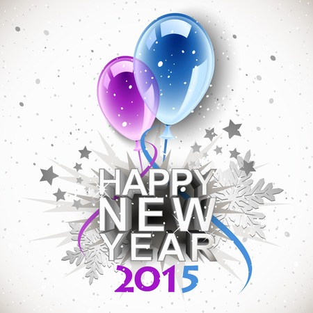 Vintage New Year 2015 with balloons Illustration