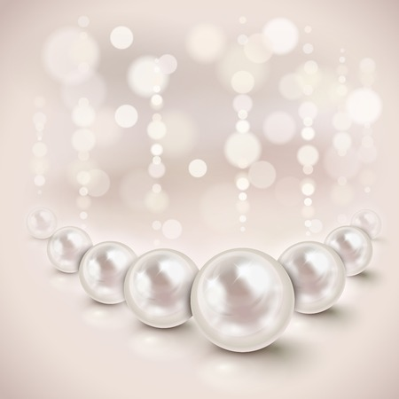 White pearls shiny background with light effects Vettoriali