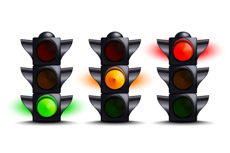 Traffic lights on green, yellow, red Stock Illustratie