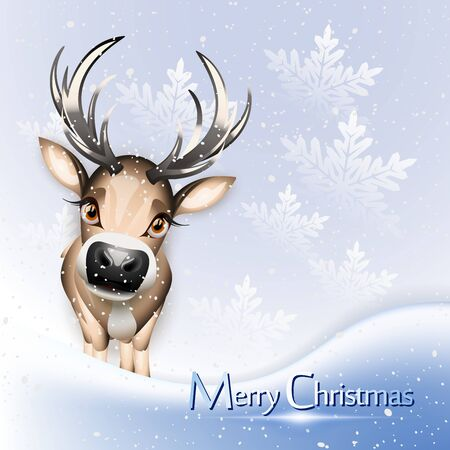 rein: Christmas blue card with cute reindeer over snow Illustration