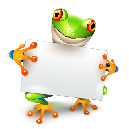 text space: Little tree frog holding a white card for a message