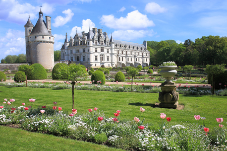 Chenonceau Castle view from the gardens, Loire Valley, France