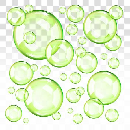 Bulles vertes transparentes. EPS 10 modifiables, dégradés avec transparence. Facile à pu sur n'importe quel fond. Banque d'images - 96707217