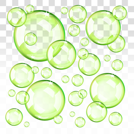 Transparent green bubbles. Eps 10 editable, gradients with transparency. Easy to pu over any background.