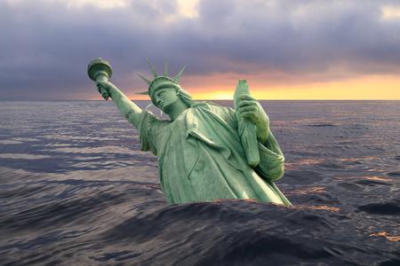 Statua Wolności tonie w oceanie o zachodzie słońca