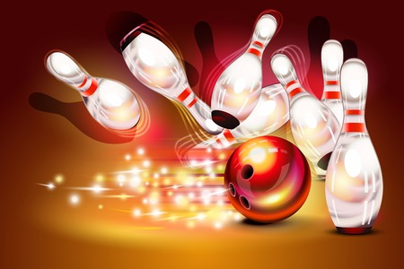 Bowling game strike over dark red background, red bowling ball crashing into the pins Ilustracja
