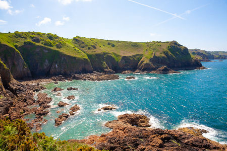 Cliffs of the Island of Jersey in the English Channel Stock Photo - 116492887