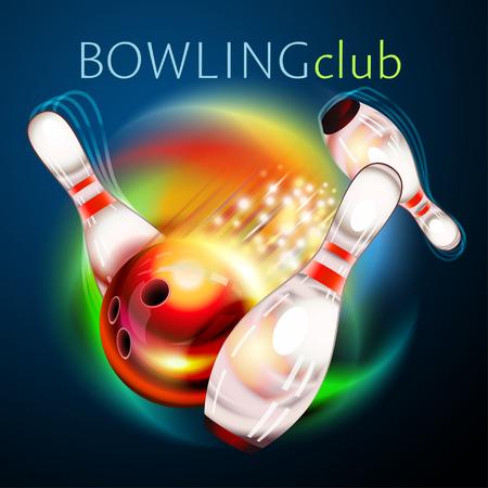 Bowling ball flying over rainbow  イラスト・ベクター素材