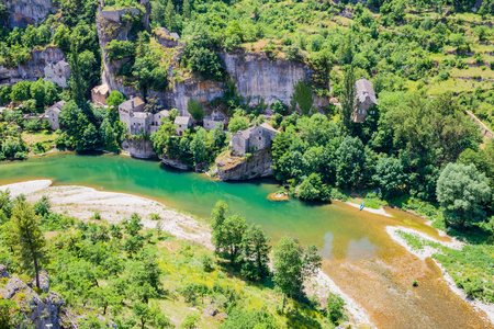 Castelbouc, troglodytic village in the valley of the Tarn river and the canyon, Occitanie, France Stock Photo