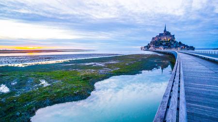 Mont-Saint-Michel sunset from the bridge, Normandy, France Reklamní fotografie
