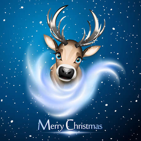 Christmas card with cute reindeer over snow and bue background