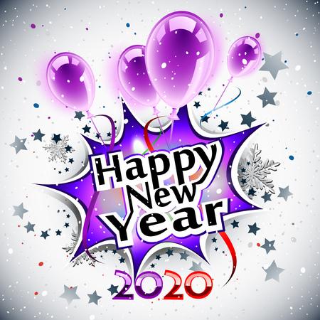 Happy New Year 2020, purple greeting card