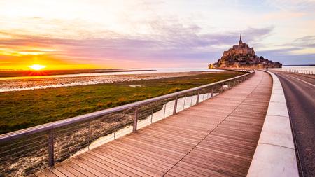 Mont-Saint-Michel sunset from the bridge, Normandy, France
