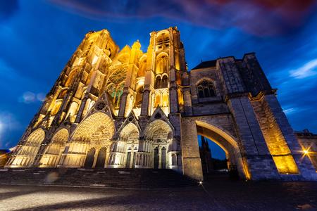 West facade of Saint-Etienne Cathedral at dusk, Bourges, Centre-Val de Loire, France