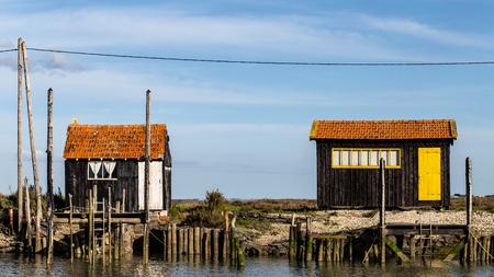 Colourful cabin of fishermen huts at La Tremblade near Oleron,Nouvelle-Aquitaine, France