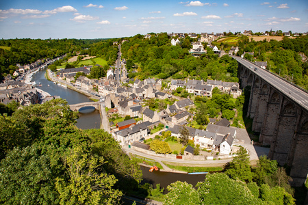 Dinan, the harbor on the banks of the Rance River, Brittany, France