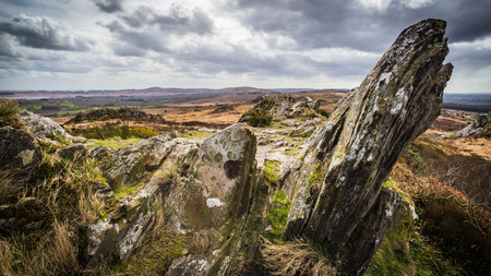 Roc'h Trevezel summit in Monts d'Arree, land of legends in Brittany, France Stock Photo