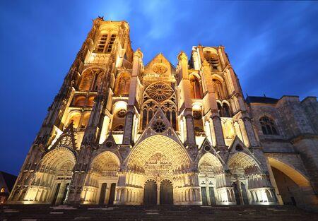 West facade of Saint-Etienne Cathedral at blue hour, Bourges, Centre-Val de Loire, France