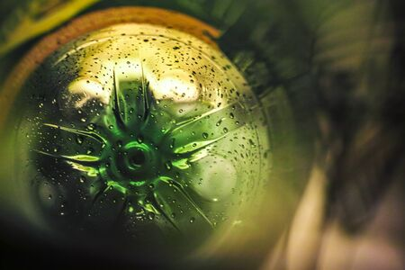 Inside a green plastic bottle for recycle, light and drops