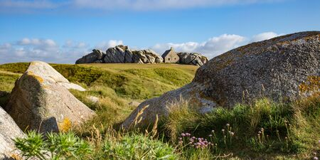 Small watchouse surrounded by the rocks in Kerlouan, Brittany, France Reklamní fotografie