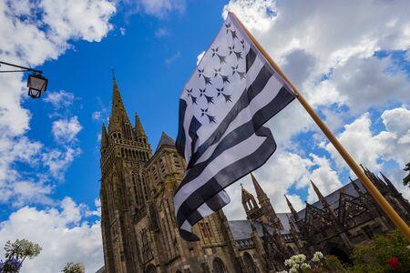 Le Folgoet, his church and Gwenn-ha-Du flag, lovely village in Brittany, France