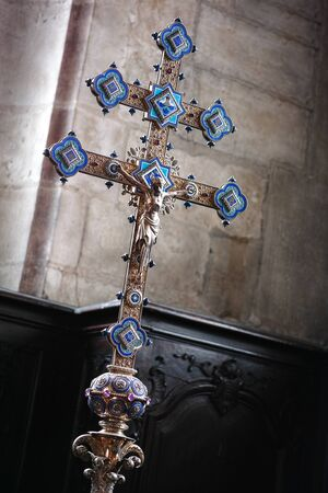 Christian processional cross with blue goldsmithery