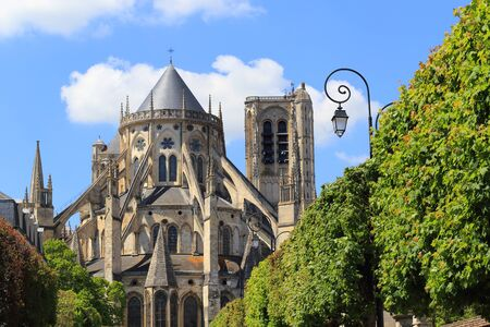 Apse of the Cathedral Saint-Etienne of Bourges in the spring, Bourges, Centre-Val de Loire, France