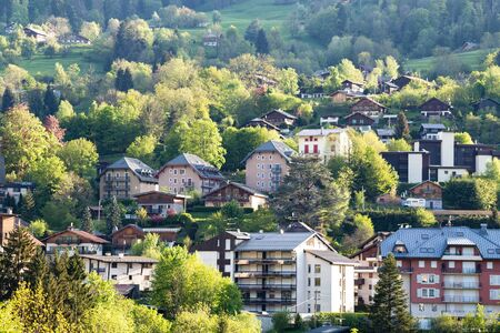 View of french alps mountain  and Saint-Gervais-les-Bains village, in spring Reklamní fotografie