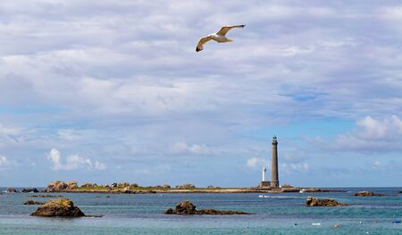 Ile vierge lighthouse on the north coast of Finistere, Plouguerneau, Brittany, France