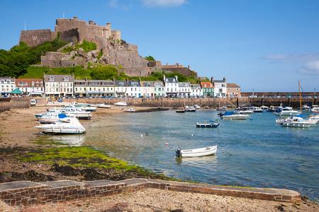 Gorey harbour and Mont Orgueil Castle, Jersey, The Channel Islands