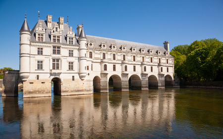 Chateau de Chenonceau over the river in Loire Valley, France